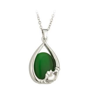 Claddagh Green Cat Eye Pendant