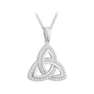 Sterling Silver and CZ Trinity Knot Pendant