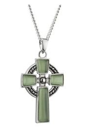 Green Cat Eye Celtic Cross Pendant