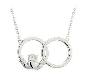 Sterling Silver Claddagh Interlocking Circle Necklet