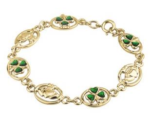 Gold Plated Shamrock and Claddagh Bracelet