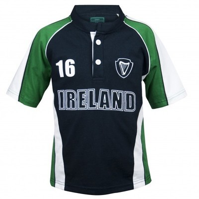 Kids Green and Navy Sports Rugby Jersey
