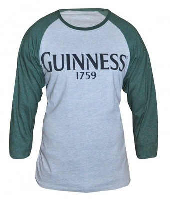 Guinness Heathered Grey Baseball Long Sleeved Tee