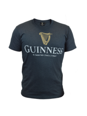 Guinness Navy Distressed Harp Logo Tee