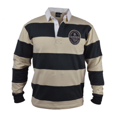 Guinness Cream and Black Striped Long Sleeve Rugby Jersey
