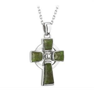Sterling Silver and Connemara Marble Celtic Cross