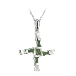 Sterling Silver and Connemara Marble St Brigid's Cross
