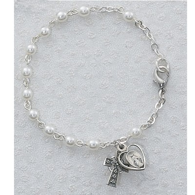 Sterling Silver Pearl Bracelet with Celtic Cross and Miraculous Medal