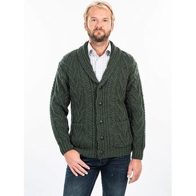 Mens Aran Cable Shawl-Collar Cardigan - Dark Green