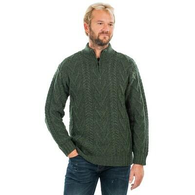 Mens Zip Neck Fisherman Sweater - Dark Green