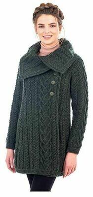Classic Aran Cable Coat - Green