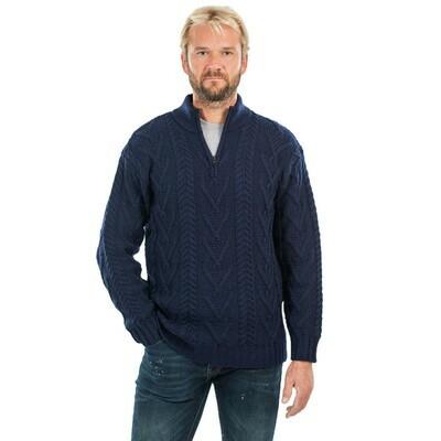 Mens Zip Neck Fisherman Sweater - Navy