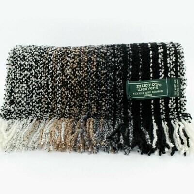 Skellig Scarf - Black, White & Brown