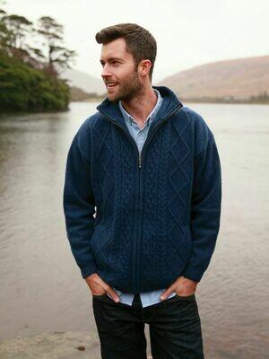 Aran Zip Sweater - Navy