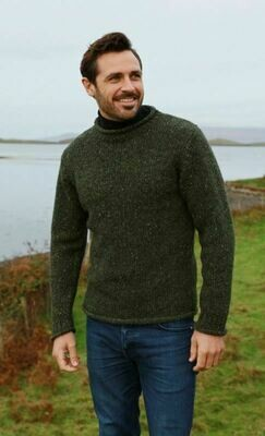 Donegal Roll Neck Sweater - Dark Green
