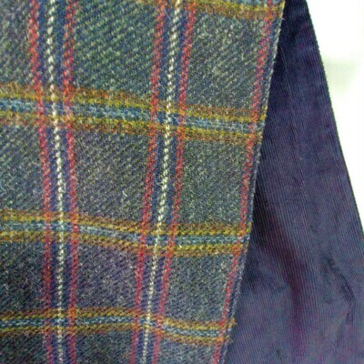 Tweed Scarf with Corduroy Lining - Blue Check