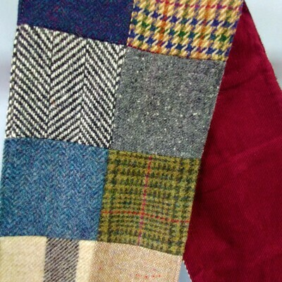 Patch Tweed Scarf with Red Corduroy Lining