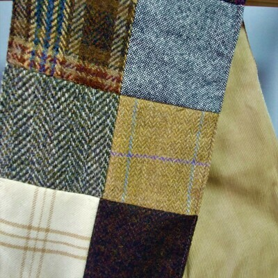 Patch Tweed Scarf with Tan Corduroy Lining