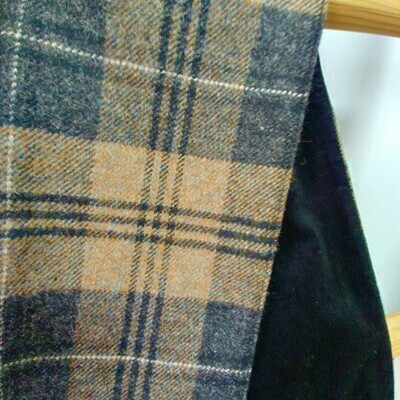 Tweed Scarf with Corduroy Lining - Brown Check with Black corduroy.