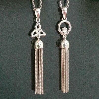 Sterling Silver Tassel Pendant - Trinity or Claddagh