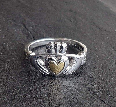 Ladies Heart of Gold Claddagh Ring - Sterling Silver and 10k Gold