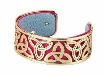 Gold Plated Red Leather Trinity Knot Cuff Bangle