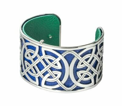 Rhodium Plated Leather Wide Celtic Cuff Bangle