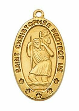 Gold Plated St Christopher Medal - 18