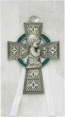 Celtic Cross Baby Boy Crib Medal
