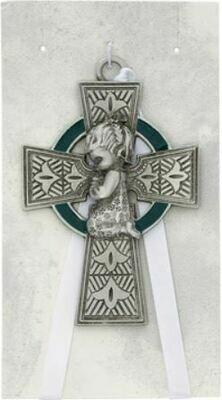 Celtic Cross Baby Girl Crib Medal