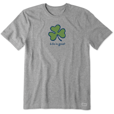 Life is Good Tee Shirt - Vintage Shamrock - Grey