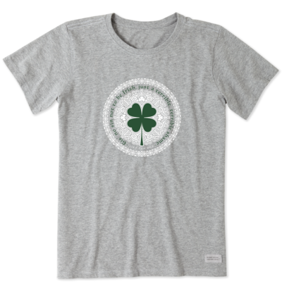 Life is Good Women's Tee Shirt - Tis No Sin Not To Be Irish - Grey