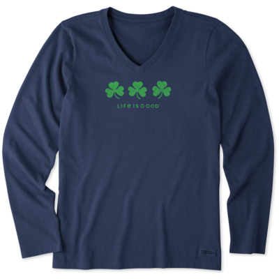 Life is Good Women's Long Sleeve Shirt - Three Shamrocks - Blue