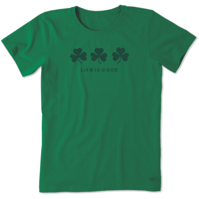 Life is Good Women's Tee Shirt - Three Shamrocks - Green