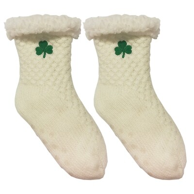 Kids White Embroidered Shamrock Slipper Socks