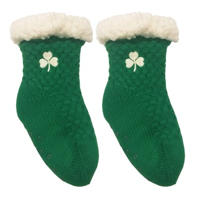 Kids Green Embroidered Shamrock Slipper Socks