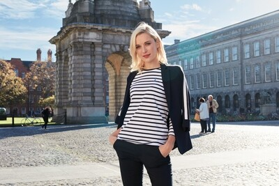 Navy/White Trinity College Stripe Ladies Top