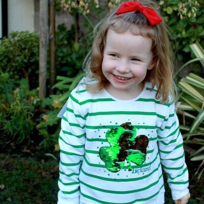 Green/White Shamrock Sequin Shirt