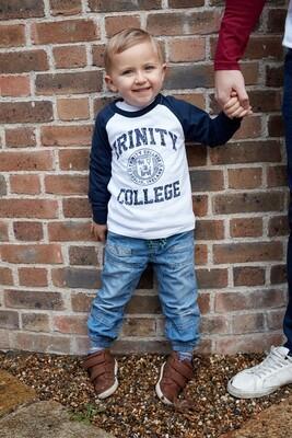 White/Navy Trinity College Kids Long Sleeve T-Shirt