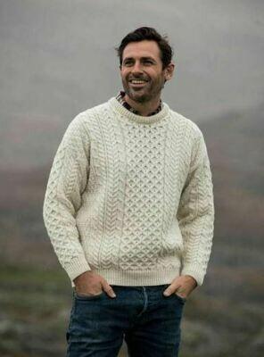 Aran Crew Neck Sweater - Natural