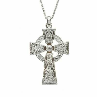 Silver Celtic Warrior Cross - Medium