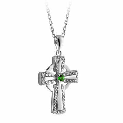 Silver Crystal Illusion Celtic Cross Pendant
