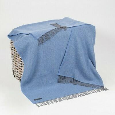 Cashmere and Merino Wool Throw - Denim Blue Herringbone