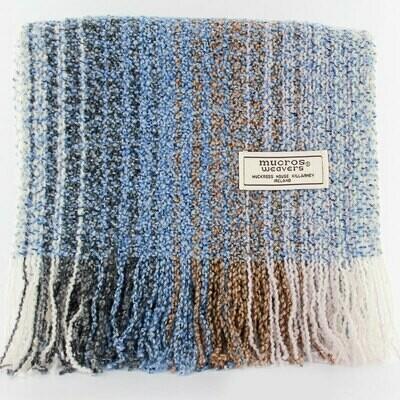 Skellig Scarf - Blue, Grey & White