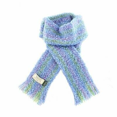 Mohair Viscose Scarf - Blue, Purple & Green
