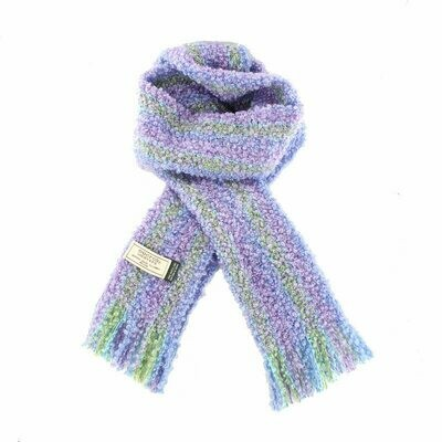 Mohair Viscose Scarf - Purple, Green & Blue