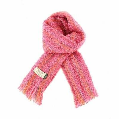 Mohair Viscose Scarf - Pink, Orange & Grey