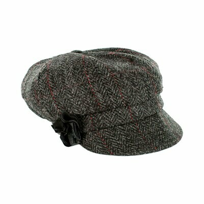 Newsboy Cap - Charcoal Grey & Red