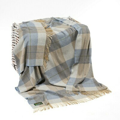 Lambswool Throw Cream Taupe and Denim Check