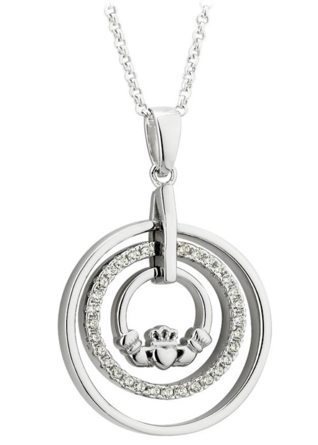 Silver Cubic Zirconia Claddagh Circle Pendant